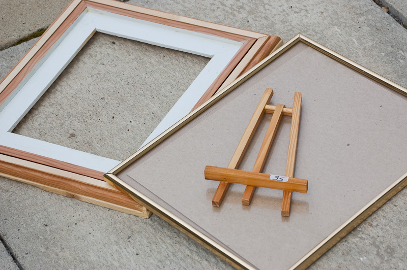 frames and photo easel from thrift store, ready to be repainted and reused