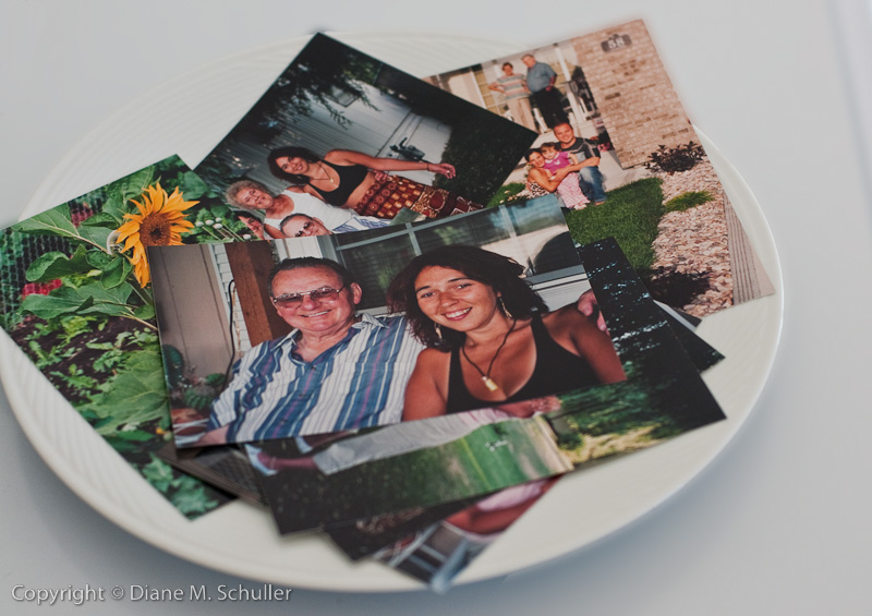 snapshots in a plate for display as home decor