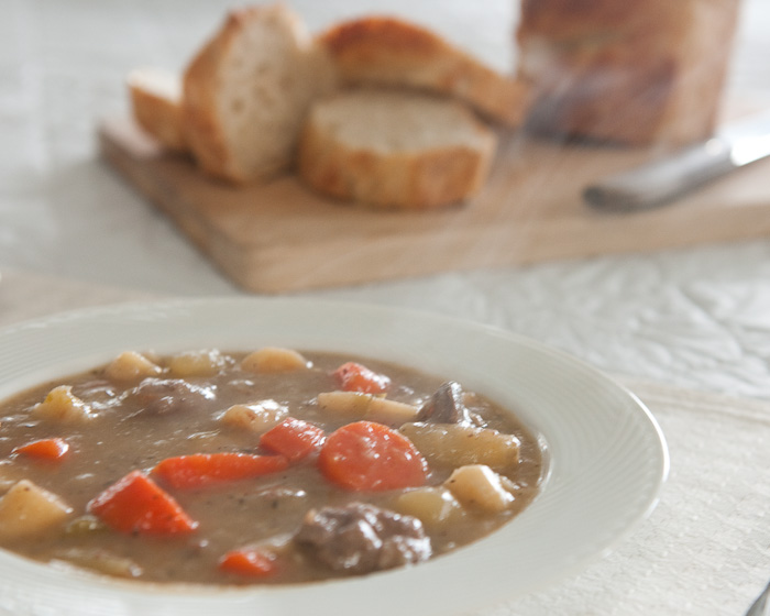 homemade stew and artisan bread